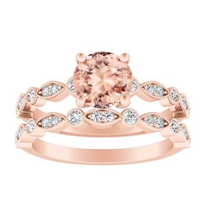 ATHENA Vintage Style Morganite Wedding Ring Set In 14K Rose Gold With 1.00 Carat Round Stone