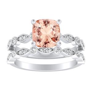 ATHENA  Vintage  Style  Morganite  Wedding  Ring  Set  In  14K  White  Gold  With  1.00  Carat  Cushion  Stone