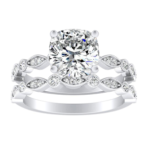 ATHENA Vintage Style Diamond Wedding Ring Set In 14K White Gold