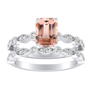 ATHENA  Vintage  Style  Morganite  Wedding  Ring  Set  In  14K  White  Gold  With  1.00  Carat  Emerald  Stone