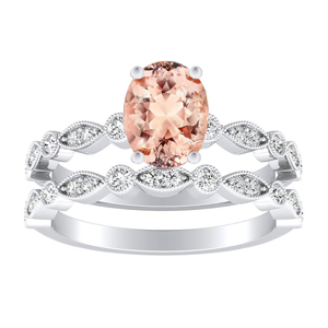 ATHENA  Vintage  Style  Morganite  Wedding  Ring  Set  In  14K  White  Gold  With  1.00  Carat  Oval  Stone
