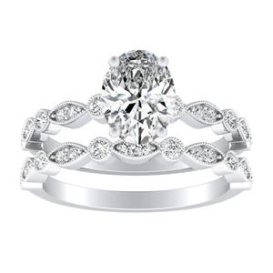 ATHENA Vintage Style Diamond Wedding Ring Set In 14K White Gold