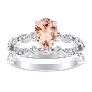 ATHENA  Vintage  Style  Morganite  Wedding  Ring  Set  In  14K  White  Gold  With  1.00  Carat  Pear  Stone