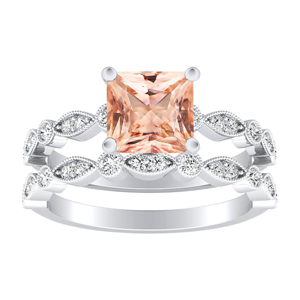 ATHENA  Vintage  Style  Morganite  Wedding  Ring  Set  In  14K  White  Gold  With  1.00  Carat  Princess  Stone