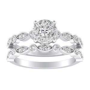ATHENA Vintage Style Diamond Wedding Ring Set In 14K White Gold With 0.25 Carat Round Diamond In H-I SI1-SI2 Quality