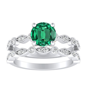 ATHENA  Vintage  Style  Green  Emerald  Wedding  Ring  Set  In  14K  White  Gold  With  0.50  Carat  Round  Stone