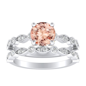 ATHENA  Vintage  Style  Morganite  Wedding  Ring  Set  In  14K  White  Gold  With  1.00  Carat  Round  Stone