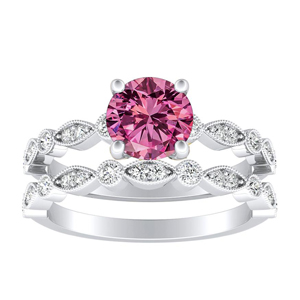 ATHENA  Vintage  Style  Pink  Sapphire  Wedding  Ring  Set  In  14K  White  Gold  With  0.50  Carat  Round  Stone