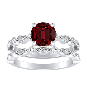 ATHENA  Vintage  Style  Ruby  Wedding  Ring  Set  In  14K  White  Gold  With  0.50  Carat  Round  Stone