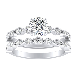 ATHENA  Vintage  Style  Moissanite  Wedding  Ring  Set  In  14K  White  Gold  With  0.50  Carat  Round  Stone