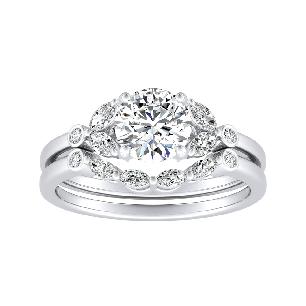 PRIMROSE Diamond Wedding Ring Set In 14K White Gold