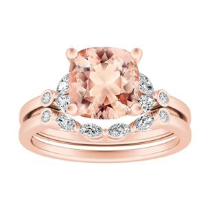 PRIMROSE  Morganite  Wedding  Ring  Set  In  14K  Rose  Gold  With  1.00  Carat  Cushion  Stone