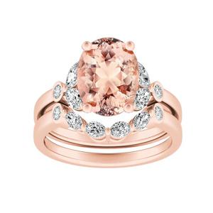 PRIMROSE  Morganite  Wedding  Ring  Set  In  14K  Rose  Gold  With  1.00  Carat  Oval  Stone
