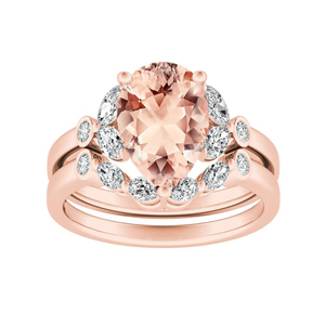 PRIMROSE  Morganite  Wedding  Ring  Set  In  14K  Rose  Gold  With  1.00  Carat  Pear  Stone