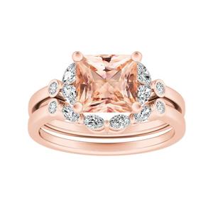 PRIMROSE  Morganite  Wedding  Ring  Set  In  14K  Rose  Gold  With  1.00  Carat  Princess  Stone