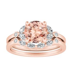 PRIMROSE  Morganite  Wedding  Ring  Set  In  14K  Rose  Gold  With  1.00  Carat  Round  Stone