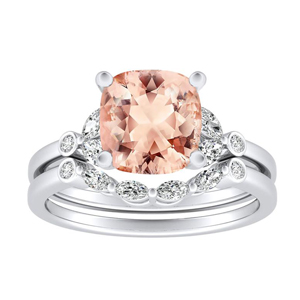 PRIMROSE  Morganite  Wedding  Ring  Set  In  14K  White  Gold  With  1.00  Carat  Cushion  Stone