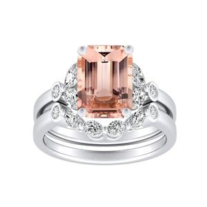 PRIMROSE  Morganite  Wedding  Ring  Set  In  14K  White  Gold  With  1.00  Carat  Emerald  Stone