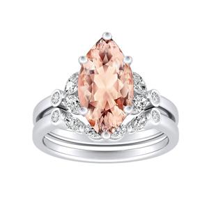PRIMROSE  Morganite  Wedding  Ring  Set  In  14K  White  Gold  With  1.00  Carat  Marquise  Stone