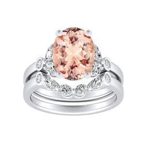 PRIMROSE  Morganite  Wedding  Ring  Set  In  14K  White  Gold  With  1.00  Carat  Oval  Stone