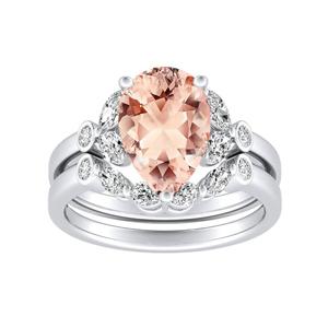 PRIMROSE  Morganite  Wedding  Ring  Set  In  14K  White  Gold  With  1.00  Carat  Pear  Stone