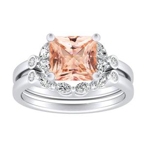 PRIMROSE  Morganite  Wedding  Ring  Set  In  14K  White  Gold  With  1.00  Carat  Princess  Stone