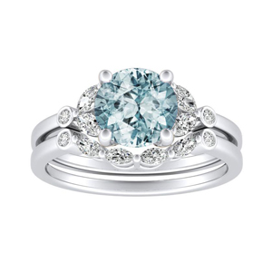 PRIMROSE  Aquamarine  Wedding  Ring  Set  In  14K  White  Gold  With  1.00  Carat  Round  Stone