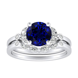 PRIMROSE  Blue  Sapphire  Wedding  Ring  Set  In  14K  White  Gold  With  0.50  Carat  Round  Stone
