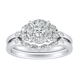 PRIMROSE Diamond Wedding Ring Set In 14K White Gold With 0.25 Carat Round Diamond In H-I SI1-SI2 Quality