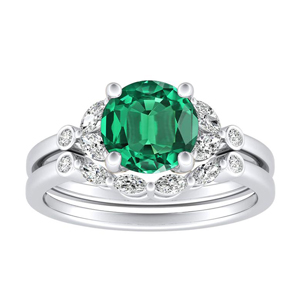 PRIMROSE  Green  Emerald  Wedding  Ring  Set  In  14K  White  Gold  With  0.50  Carat  Round  Stone