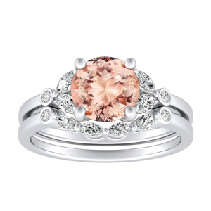 PRIMROSE  Morganite  Wedding  Ring  Set  In  14K  White  Gold  With  1.00  Carat  Round  Stone
