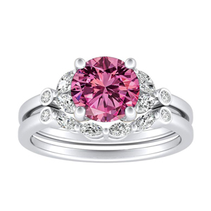 PRIMROSE  Pink  Sapphire  Wedding  Ring  Set  In  14K  White  Gold  With  0.50  Carat  Round  Stone