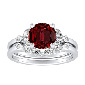 <span>PRIMROSE</span> Ruby  Wedding  Ring  Set  In  14K  White  Gold  With  0.50  Carat  Round  Stone