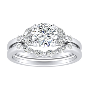 PRIMROSE Diamond Wedding Ring Set In 14K White Gold With 0.50ct. Round Diamond