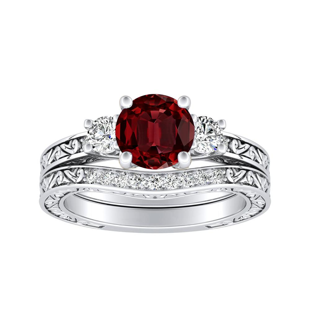 ELEANOR Three Stone Ruby Wedding Ring Set In 14K White Gold With 0.50 Carat Round Stone