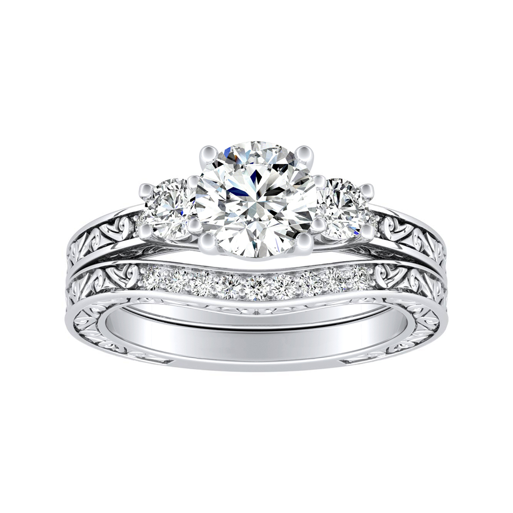 ELEANOR Three Stone Diamond Wedding Ring Set In 14K White Gold