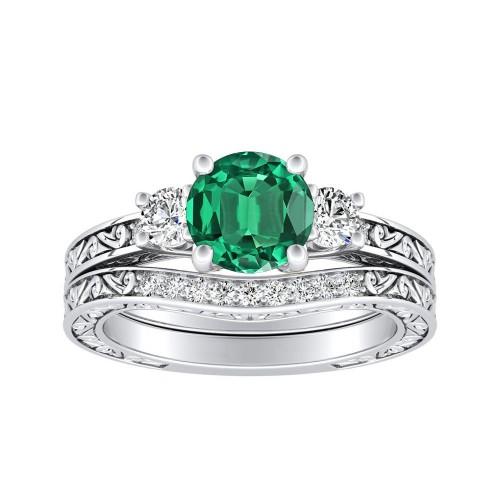 ELEANOR Three Stone Green Emerald Wedding Ring Set In 14K White Gold ...