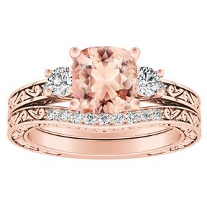 ELEANOR  Three  Stone  Morganite  Wedding  Ring  Set  In  14K  Rose  Gold  With  1.00  Carat  Cushion  Stone
