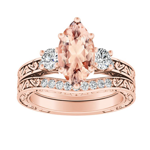ELEANOR Three Stone Morganite Wedding Ring Set In 14K Rose Gold With 1.00 Carat Marquise Stone