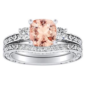 <span>ELEANOR</span> Three  Stone  Morganite  Wedding  Ring  Set  In  14K  White  Gold  With  1.00  Carat  Cushion  Stone