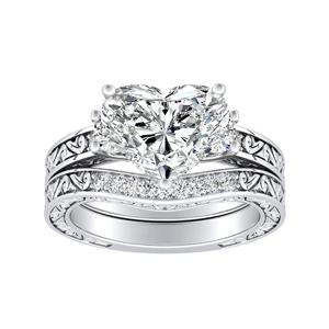 ELEANOR Three Stone Diamond Wedding Ring Set In 14K White Gold