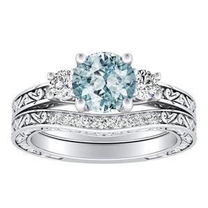 ELEANOR  Three  Stone  Aquamarine  Wedding  Ring  Set  In  14K  White  Gold  With  1.00  Carat  Round  Stone