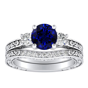 ELEANOR  Three  Stone  Blue  Sapphire  Wedding  Ring  Set  In  14K  White  Gold  With  0.50  Carat  Round  Stone