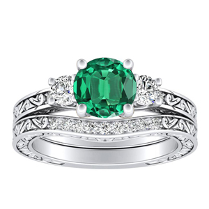 ELEANOR  Three  Stone  Green  Emerald  Wedding  Ring  Set  In  14K  White  Gold  With  0.50  Carat  Round  Stone