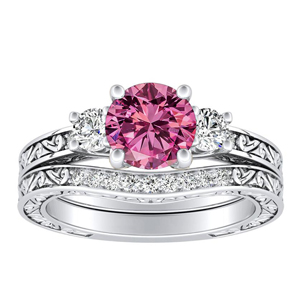ELEANOR  Three  Stone  Pink  Sapphire  Wedding  Ring  Set  In  14K  White  Gold  With  0.50  Carat  Round  Stone
