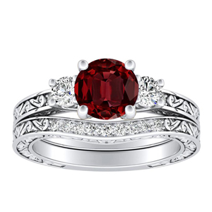 ELEANOR  Three  Stone  Ruby  Wedding  Ring  Set  In  14K  White  Gold  With  0.50  Carat  Round  Stone