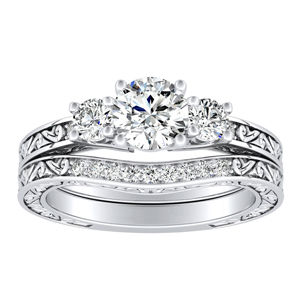 ELEANOR  Three  Stone  Moissanite  Wedding  Ring  Set  In  14K  White  Gold  With  0.50  Carat  Round  Stone