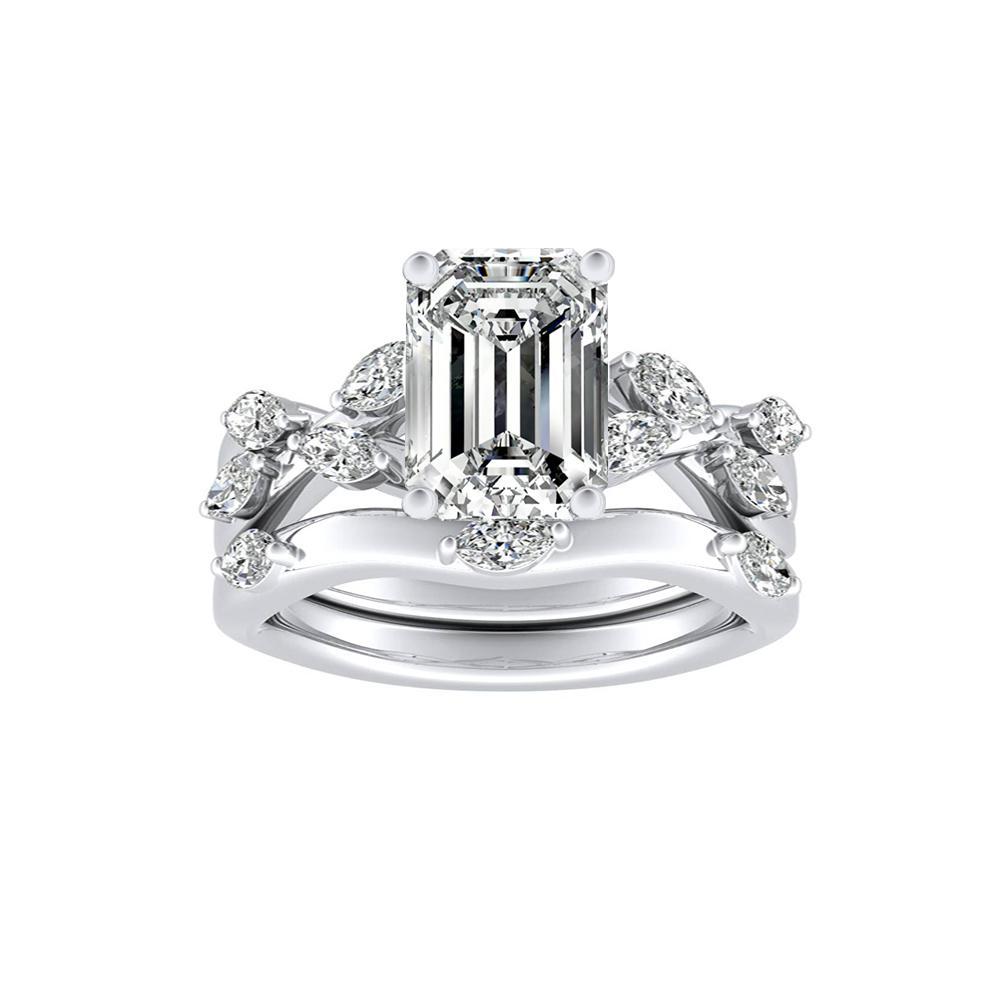 BLOSSOM Diamond Wedding Ring Set In 14K White Gold