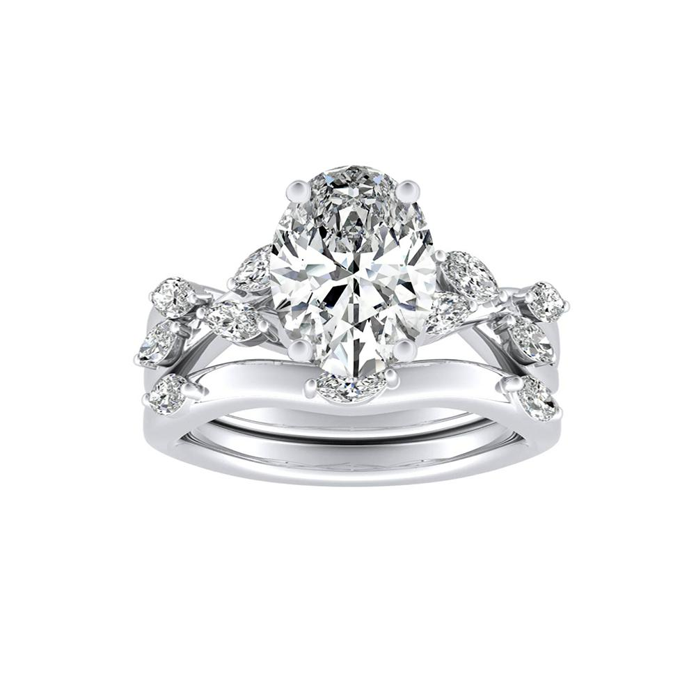 BLOSSOM Diamond Wedding Ring Set In 14K White Gold