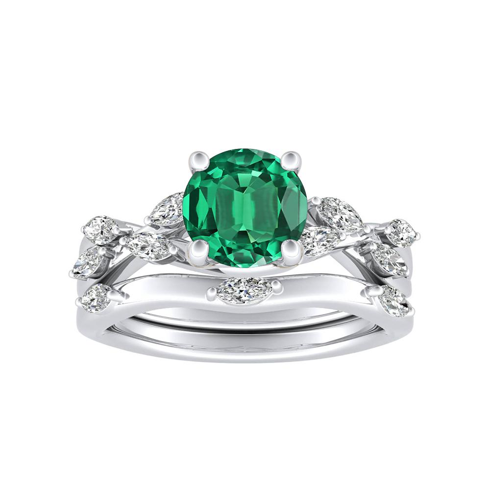 BLOSSOM Green Emerald Wedding Ring Set In 14K White Gold With 0.50 Carat Round Stone